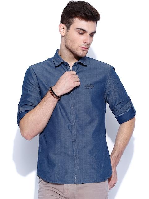 Ed Hardy Blue Slim Fit Casual Shirt