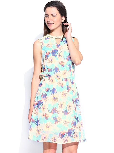 Pepe Jeans Women Yellow Floral Printed Fit & Flare Dress