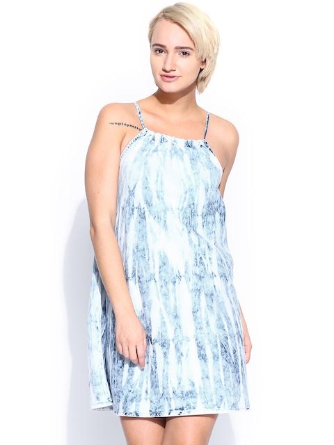 Pepe Jeans Blue & White A-Line Dress