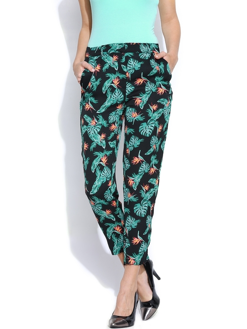 United Colors of Benetton Women Black & Green Printed Casual Trousers