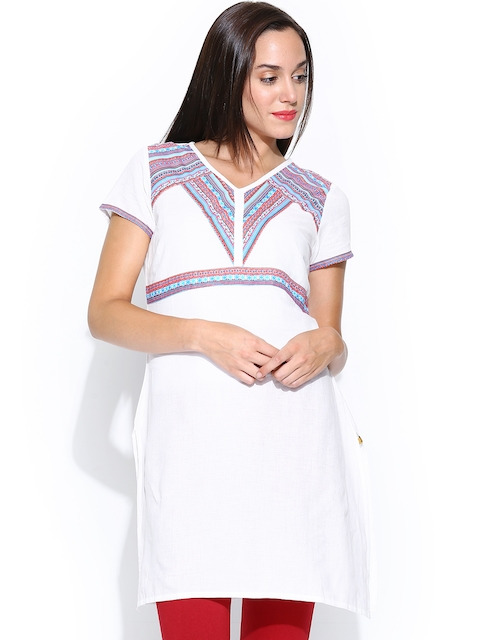 Aurelia Women White Kurta  available at myntra for Rs.449