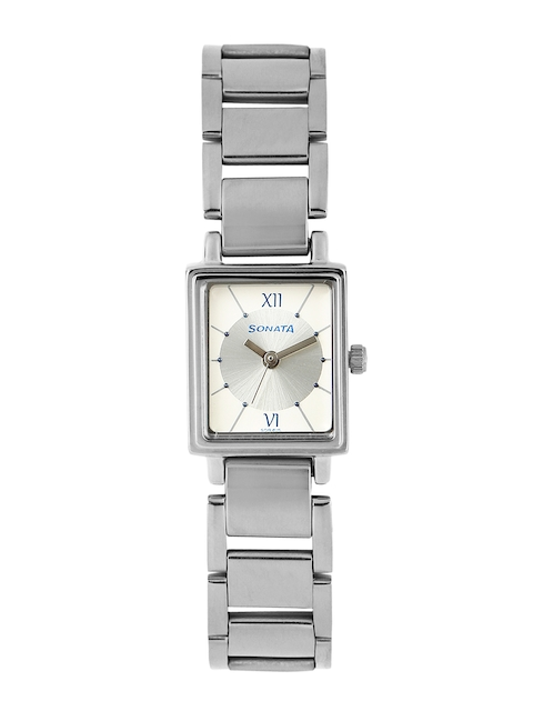 Sonata Women Silver-Toned & Off-White Dial Watch NF8080SM01