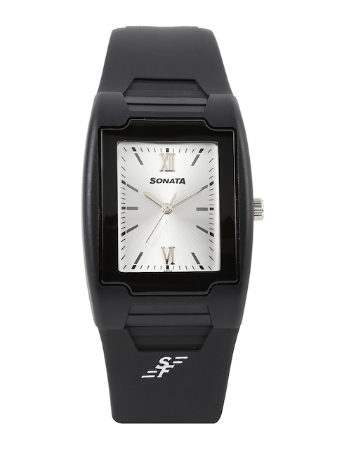 Sonata Men Silver-Toned Dial Watch NF7920PP11J