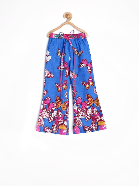 Yo Baby Girls Blue Palazzo Trousers