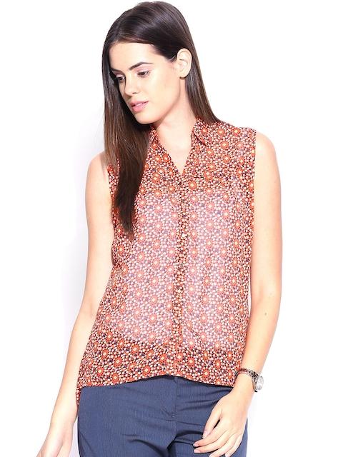 Park Avenue Woman Orange Printed Shirt