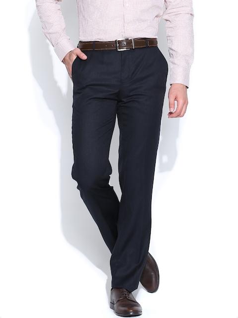 Blackberrys Men Navy Sharp Fit Formal Trousers