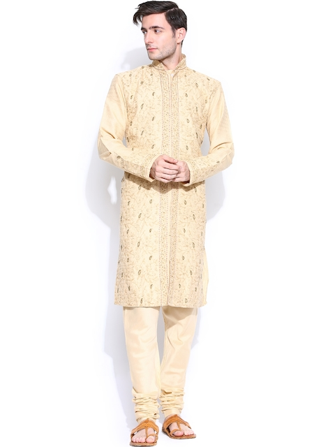 Rajyog Men Beige Embroidered Sherwani