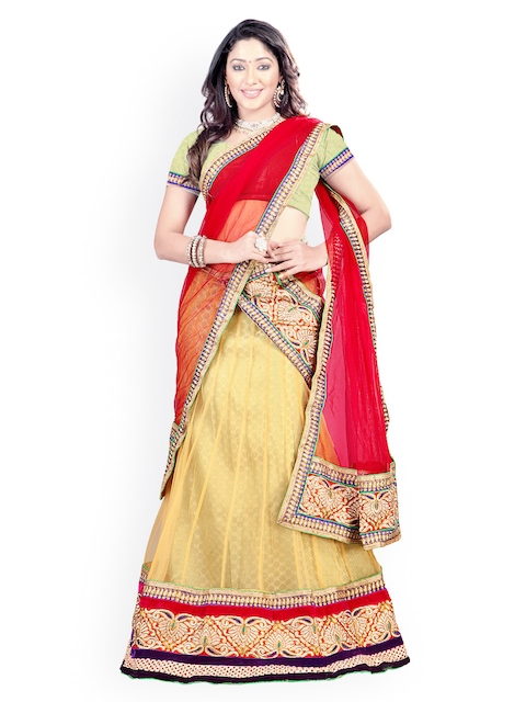 Florence Yellow & Red Semi-Stitched Brasso Net Lehenga Choli with Dupatta