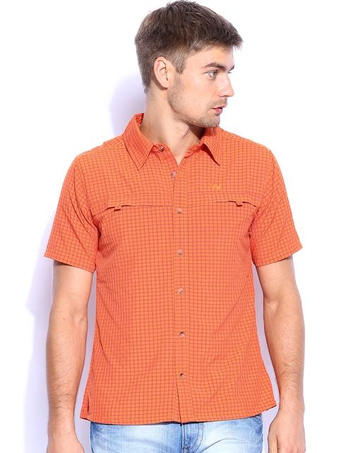 Wildcraft Men Orange Checked Casual Shirt