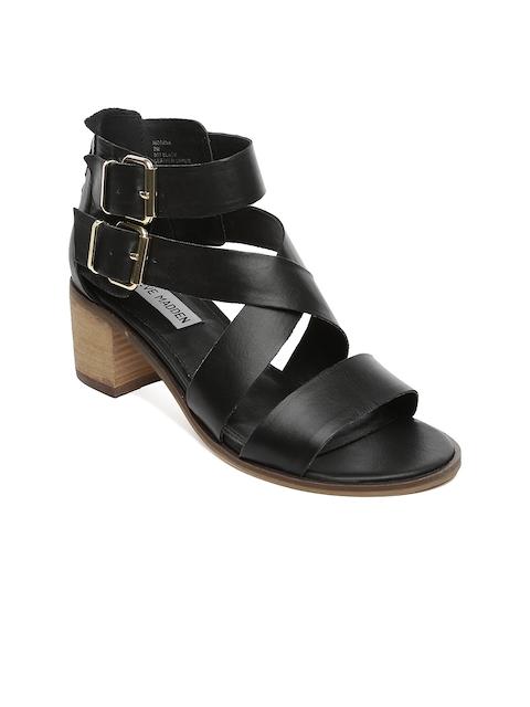 Steve Madden Women Black Leather Heels
