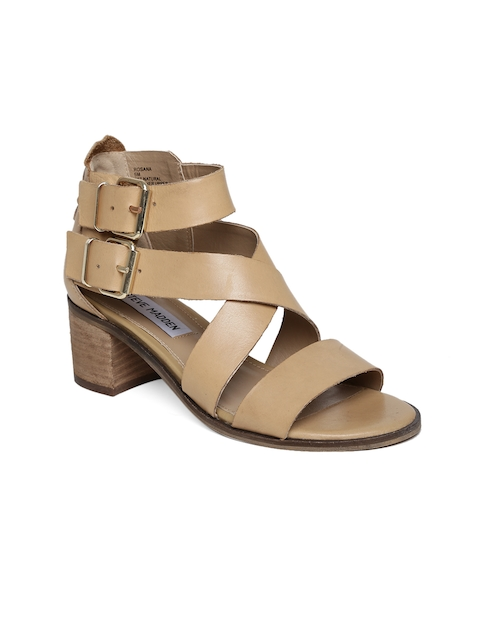 Steve Madden Women Camel Brown Leather Heels