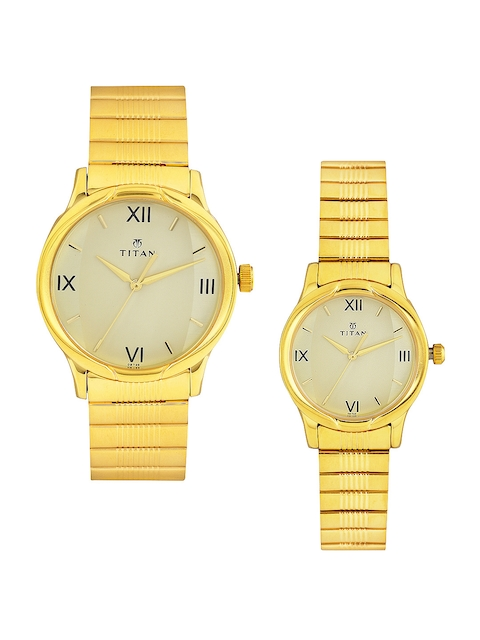 Titan 15802490YM02 Bandhan Analog Gold Dial Couple Watch (15802490YM02)