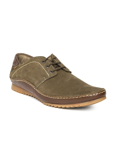 Buckaroo Men Olive Green Leather Casual Shoes