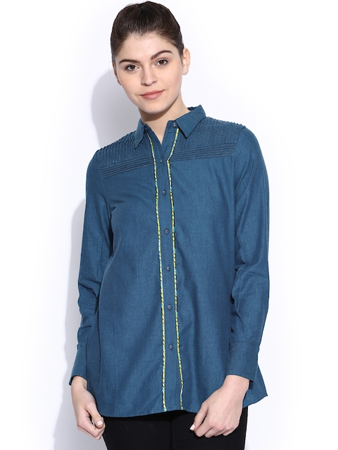 W Women Blue Printed Casual Shirt