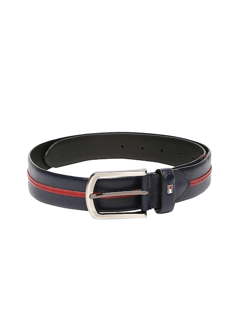 Tommy Hilfiger Men Navy Leather Belt