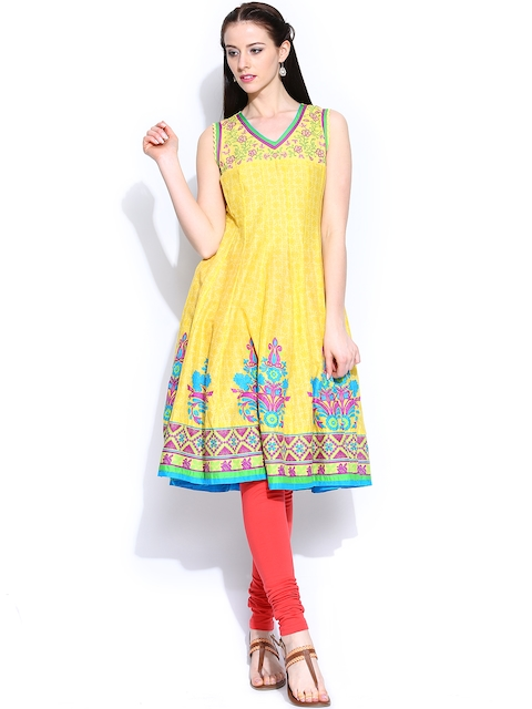 BIBA OUTLET Women Yellow Printed Anarkali Kurta  available at myntra for Rs.1079