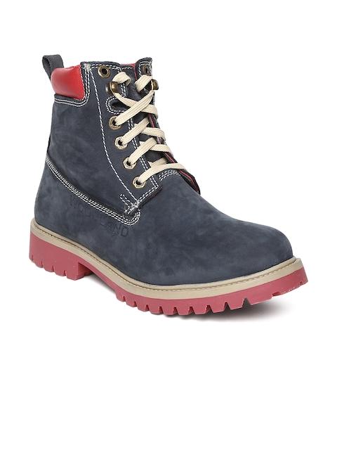 Woodland Men Navy Suede Boots