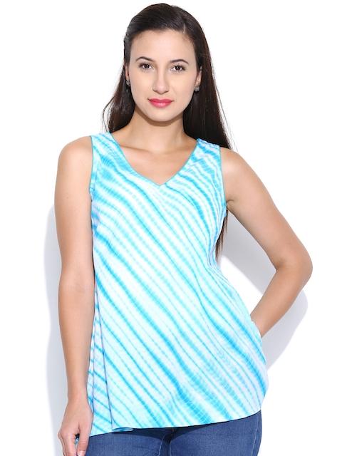 Fabindia Women Turquoise Blue Tie-Dye A-Line Kurti