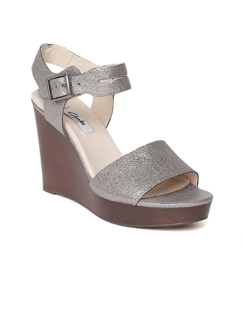 Clarks Women Silver-Toned Shimmery Leather Wedges