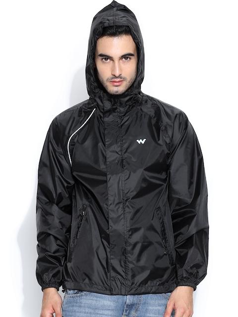 Wildcraft Men Black Hooded Rain Jacket