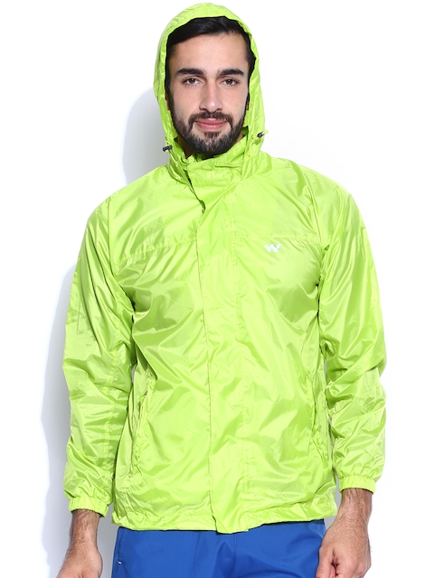 Wildcraft Neon Green Hooded Rain Jacket