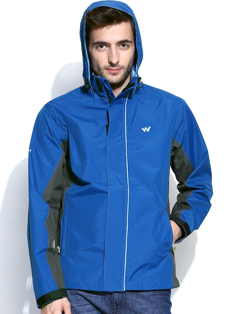 Wildcraft Men Blue & Grey Hooded Rain Jacket