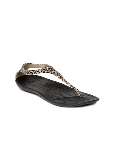 Crocs Women Brown & Black Animal Print Flats
