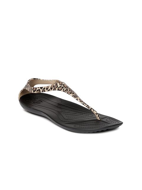 Crocs Women Brown & Black Animal Print Flats