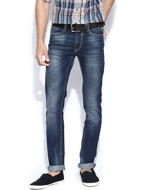 Flying Machine Navy Washed Jackson Skinny Stretchable Jeans