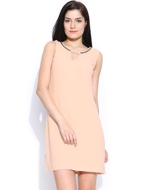Vero Moda Peach-Coloured Beaded Neck Shift Dress