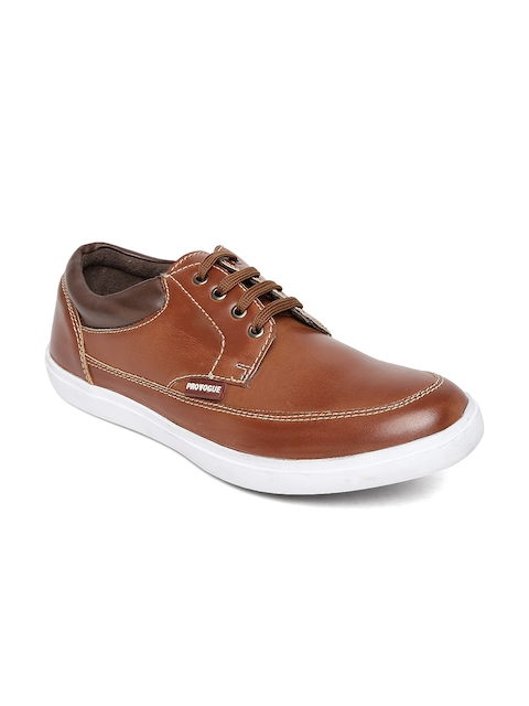 Provogue Men Tan Brown Leather Casual Shoes