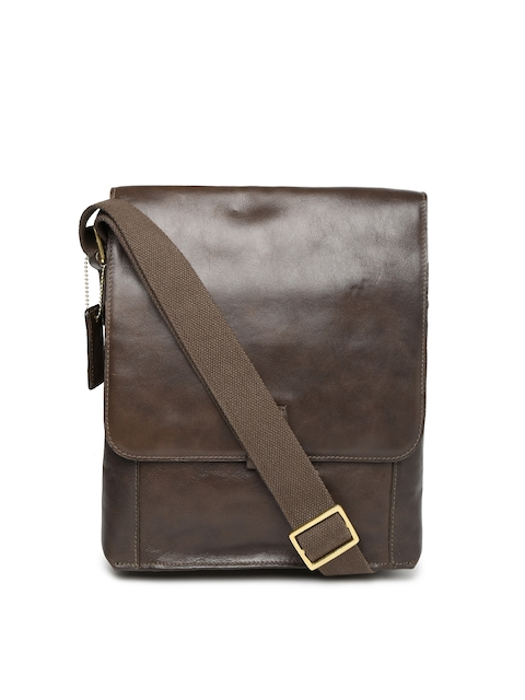 Hidesign Brown Leather Sling Bag  available at myntra for Rs.5171