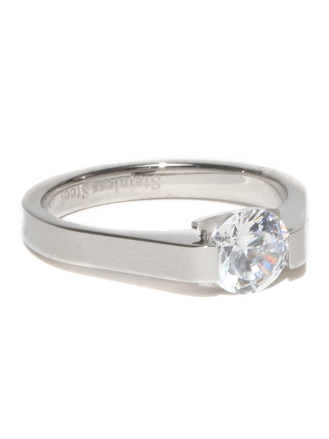 Peora Men Steel-Toned Solitaire Ring