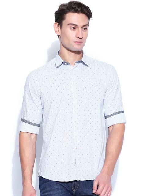 Proline White & Blue Striped Casual Shirt
