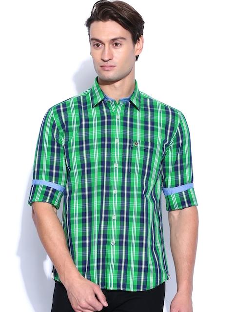 Proline Green & Blue Checked Casual Shirt