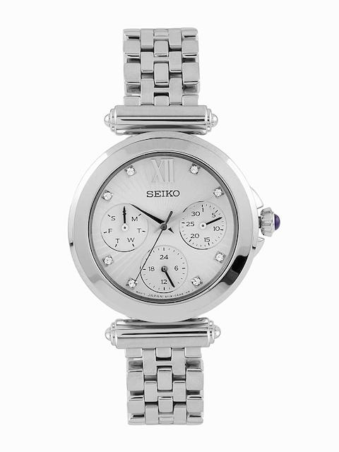 SEIKO Women Silver-Toned Swarovski Dial Watch SKY701P1