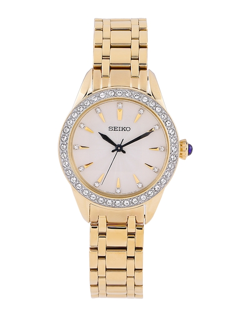 SEIKO Women Off-White Stone-Studded Dial Watch SRZ386P1