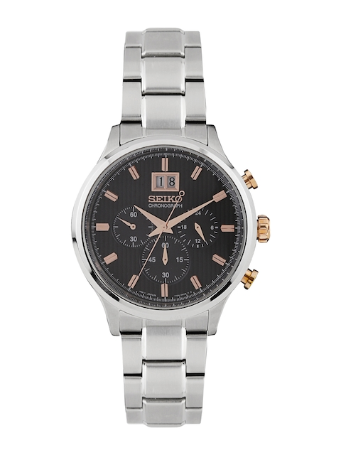 SEIKO Men Charcoal Grey Chronograph Dial Watch SPC151P1