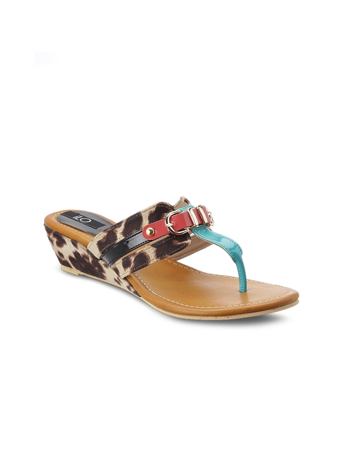 iLO Women Brown & Blue Printed Wedges  available at myntra for Rs.899
