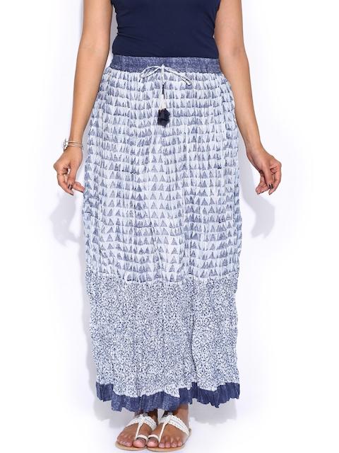 Fabindia Off-White & Navy Hand Block Print Maxi Skirt