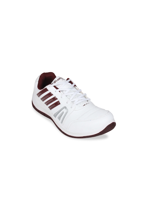 Columbus Men White & Red Sports Shoes