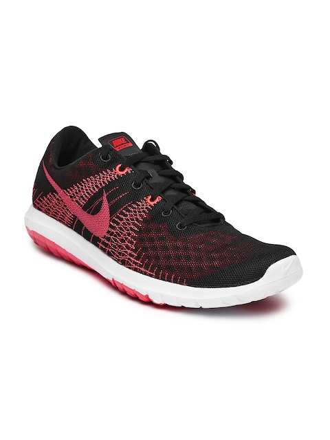Nike Men Black & Coral Pink Flex Fury Running Shoes