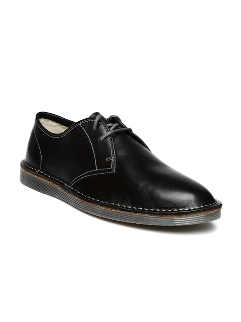 Clarks Men Black Darning Walk Leather Smart Casual Shoes