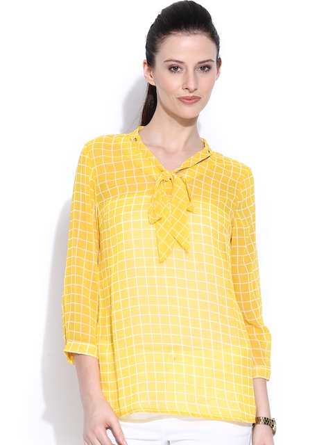 Wills Lifestyle Yellow Checked Top with Tie