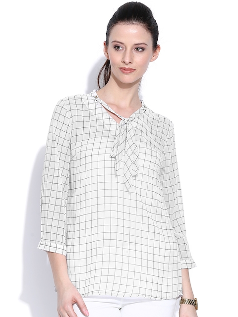 Wills Lifestyle Off-White Checked Top with Tie