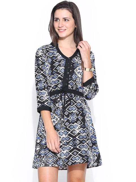 American Swan Black Printed Fit & Flare Dress