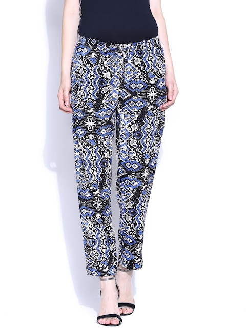 American Swan Black & Off-White Printed Trousers