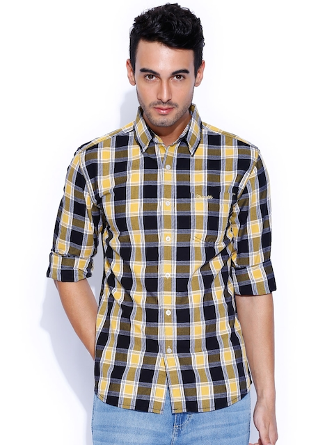 Wrangler Black & Yellow Checked Casual Shirt