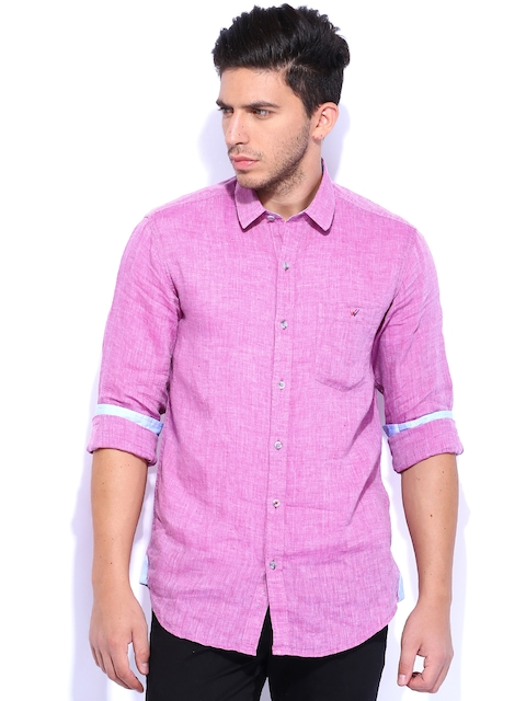 Wills Lifestyle Pink Linen Slim Fit Casual Shirt