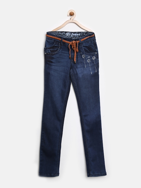 GJ Unltd Jeans by Gini and Jony Girls Dark Blue Embellished Stretchable Jeans